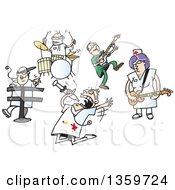 Clipart Of A Cartoon Rock And Roll Band Of Doctors And Nurses Royalty Free Vector Illustration by Holger Bogen