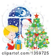 Clipart Of A Santa Claus Peeking In A Window Watching A Blond Caucasian Boy Smile At A Gift By A Christmas Tree Royalty Free Vector Illustration