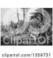 Historical Charcoal Drawing Of Grayscale Men And A Dog Deer Hunting One Man Getting Stickers In His Butt After Being Kicked By A Buck Royalty Free Illustration