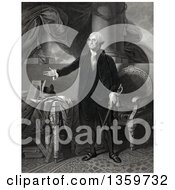 Historical Mezzotint Of George Washington Standing And Presenting Royalty Free Illustration by JVPD
