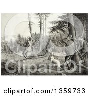 Historical Charcoal Drawing Of Men And A Dog Deer Hunting One Man Getting Stickers In His Butt After Being Kicked By A Buck Royalty Free Illustration