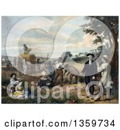 Historical Illustration Of George Washington As A Farmer Family And Workers Tending To Chores In A Grain Field Royalty Free Illustration