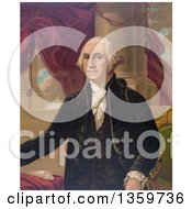 Historical Portrait Of George Washington Posing Over Drapes And Columns Royalty Free Illustration by JVPD