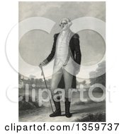 George Washington Standing In A Landscape With Mount Vernon In The Background