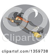 Red Haired Witch Hanging Onto Her Flying Broomstick Inside A Crescent Moon And Star Oval