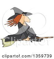 Red Haired Warty Witch Flying On A Broomstick