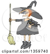 Cartoon Red Haired Chubby Witch Holding A Cat And A Broomstick
