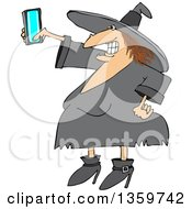 Clipart Of A Cartoon Red Haired Chubby Witch Taking A Selfie With A Cell Phone Royalty Free Vector Illustration