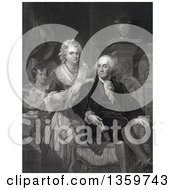 Historical Mezzotint Illustration Of George And Martha Washington And Children Royalty Free Illustration