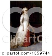 Martha Washington Posing With One Hand Resting On A Chair Back 1878