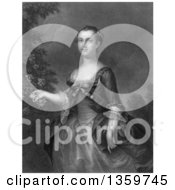 Grayscale Steel Engraving Of Martha Washington As A Young Lady 1843