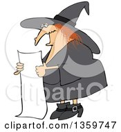 Cartoon Red Haired Chubby Witch Reading A Long List