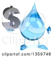 Clipart Of A 3d Water Drop Character Holding A Dollar Currency Symbol And Giving A Thumb Down On A White Background Royalty Free Illustration