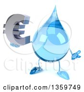 Clipart Of A 3d Water Drop Character Shrugging And Holding A Euro Currency Symbol On A White Background Royalty Free Illustration