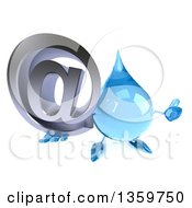 Clipart Of A 3d Water Drop Character Holding Up A Thumb And Email Arobase At Symbol On A White Background Royalty Free Illustration