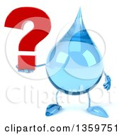 Clipart Of A 3d Water Drop Character Holding A Question Mark On A White Background Royalty Free Illustration