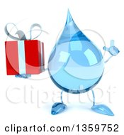 Clipart Of A 3d Water Drop Character Holding Up A Finger And A Gift On A White Background Royalty Free Illustration