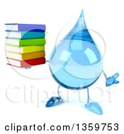 Clipart Of A 3d Water Drop Character Holding A Stack Of Books And Shrugging On A White Background Royalty Free Illustration