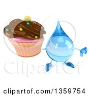 Clipart Of A 3d Water Drop Character Holding Up A Cupcake And A Thumb Down On A White Background Royalty Free Illustration