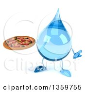 Clipart Of A 3d Water Drop Character Holding A Pizza And Shrugging On A White Background Royalty Free Illustration
