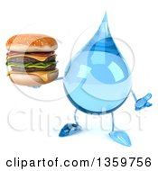 Clipart Of A 3d Water Drop Character Shrugging And Holding A Double Cheeseburger On A White Background Royalty Free Illustration