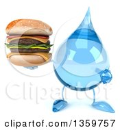 Clipart Of A 3d Water Drop Character Holding And Pointing To A Double Cheeseburger On A White Background Royalty Free Illustration