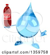 Clipart Of A 3d Water Drop Character Shrugging And Holding A Soda Bottle On A White Background Royalty Free Illustration