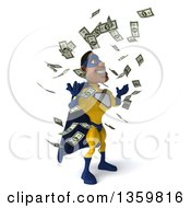 Clipart Of A 3d Muscular Black Male Super Hero In A Yellow And Blue Suit Making It Rain Money On A White Background Royalty Free Illustration