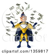 Clipart Of A 3d Muscular White Male Super Hero In A Yellow And Blue Suit Making It Rain Money On A White Background Royalty Free Illustration