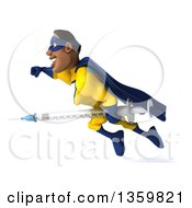 Clipart Of A 3d Muscular Black Male Super Hero In A Yellow And Blue Suit Flying With A Giant Vaccine Syringe On A White Background Royalty Free Illustration