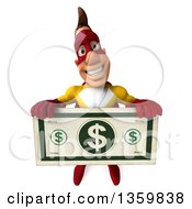 Clipart Of A 3d Muscular Male Yellow And Red Super Hero Holding Up A Giant Dollar Bill On A White Background Royalty Free Illustration