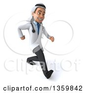Clipart Of A 3d Young Male Arabian Doctor Speed Walking On A White Background Royalty Free Illustration