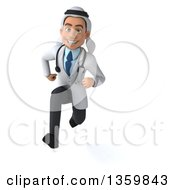 Clipart Of A 3d Young Male Arabian Doctor Sprinting On A White Background Royalty Free Illustration