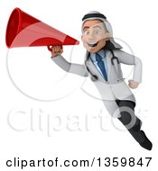 Clipart Of A 3d Young Male Arabian Doctor Flying And Using A Megaphone On A White Background Royalty Free Illustration