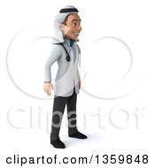 Clipart Of A 3d Young Male Arabian Doctor On A White Background Royalty Free Illustration
