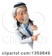 Clipart Of A 3d Young Male Arabian Doctor Pointing Around A Sign On A White Background Royalty Free Illustration