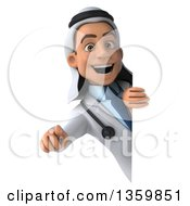 Clipart Of A 3d Young Male Arabian Doctor Pointing Outwards Around A Sign On A White Background Royalty Free Illustration