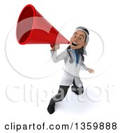 Clipart Of A 3d Young Male Arabian Doctor Using A Megaphone On A White Background Royalty Free Illustration by Julos