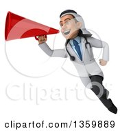 Clipart Of A 3d Young Male Arabian Doctor Using A Megaphone And Flying On A White Background Royalty Free Illustration by Julos