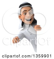 Clipart Of A 3d Young Arabian Male Chef Pointing Outwards Around A Sign On A White Background Royalty Free Illustration