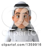 3d Young Arabian Male Chef Avatar On A White Background