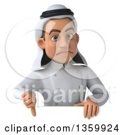 Clipart Of A 3d Young Arabian Male Chef Giving A Thumb Down Over A Sign On A White Background Royalty Free Illustration by Julos