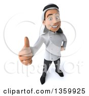 Clipart Of A 3d Young Arabian Male Chef Holding Up A Thumb On A White Background Royalty Free Illustration by Julos