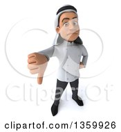 Clipart Of A 3d Young Arabian Male Chef Holding Up A Thumb Down On A White Background Royalty Free Illustration by Julos
