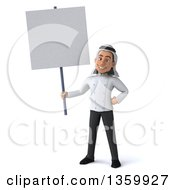 Clipart Of A 3d Young Arabian Male Chef Holding A Blank Sign On A White Background Royalty Free Illustration by Julos