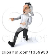 Clipart Of A 3d Young Arabian Male Chef Walking And Pointing On A White Background Royalty Free Illustration by Julos