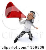 Clipart Of A 3d Young Arabian Male Chef Using A Megaphone On A White Background Royalty Free Illustration by Julos