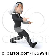 Clipart Of A 3d Arabian Business Man Walking And Pointing On A White Background Royalty Free Illustration