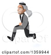 Clipart Of A 3d Arabian Business Man Sprinting On A White Background Royalty Free Illustration