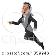 Clipart Of A 3d Arabian Business Man Flying And Pointing On A White Background Royalty Free Illustration